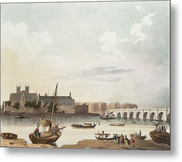 View Of Westminster And The Bridge Wc On Paper Metal Print