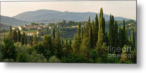 Village And Cypresses Metal Print