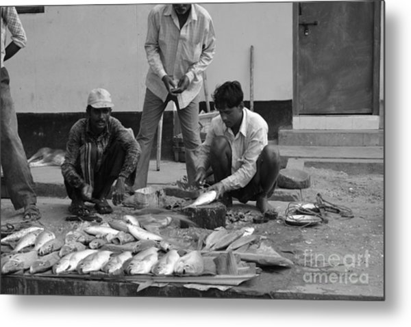 Village Fish Market 1 Metal Print by Bobby Mandal