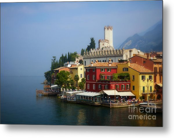Village Near The Water With Alps In The Background  Metal Print