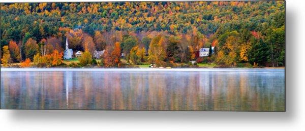 Village On Crystal Lake Autumn  Metal Print