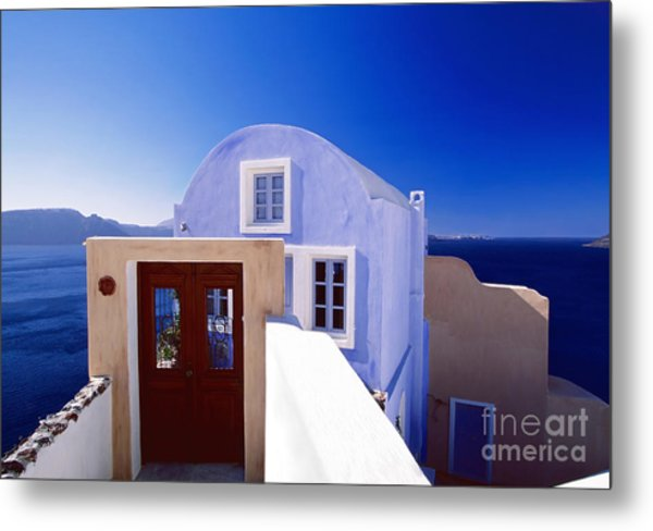 Villas Overlooking The Aegean Sea Metal Print