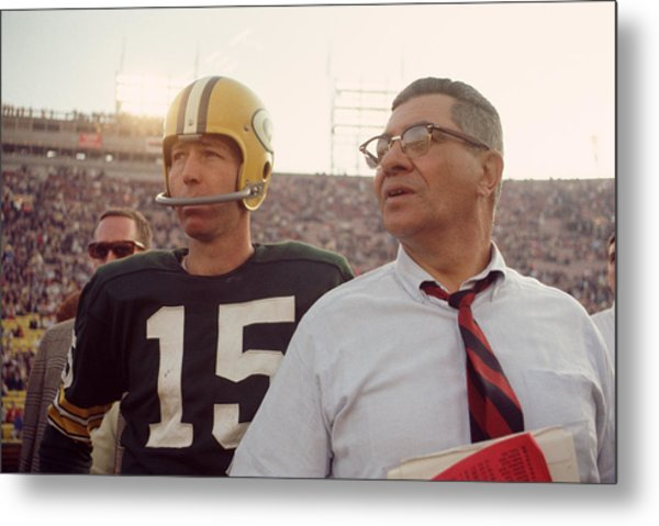 Vince Lombardi With Bart Starr Metal Print