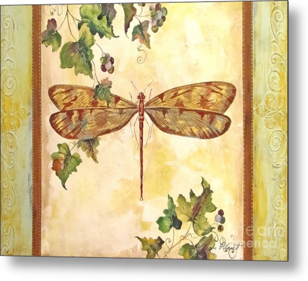Vineyard Dragonfly Metal Print