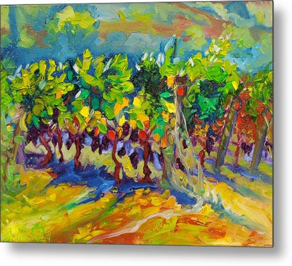 Vineyard Harvest Oil Painting Metal Print