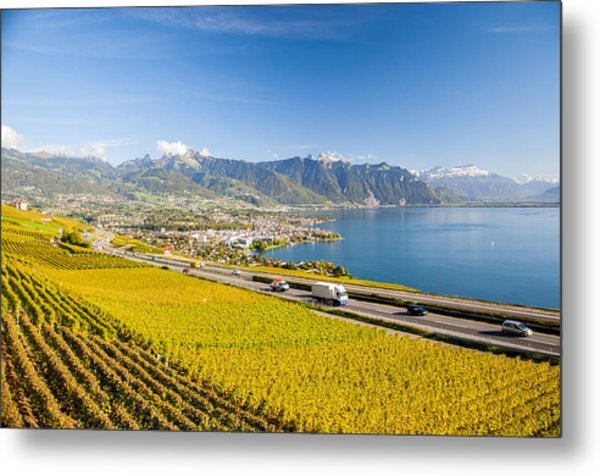 Vineyards Near Montreux Metal Print