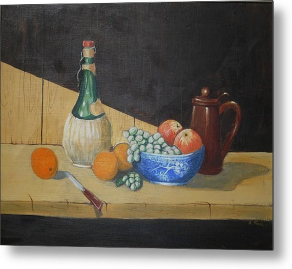 Vino And Fruit Metal Print