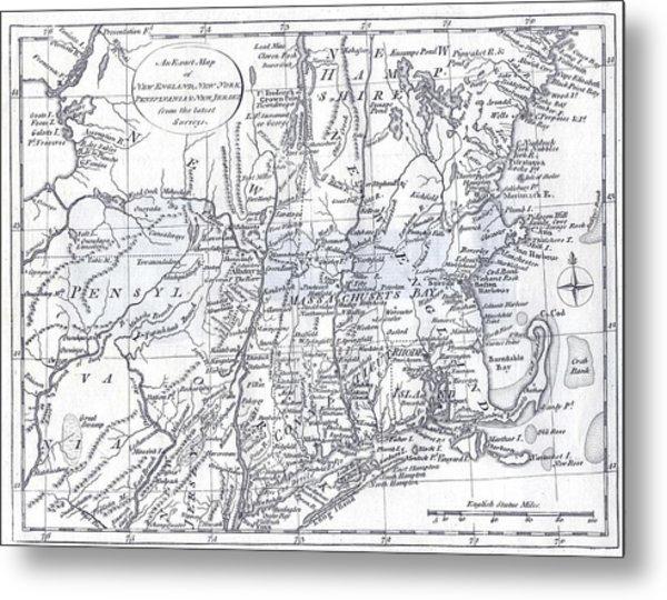 Vintage 1778 New England Map Metal Print