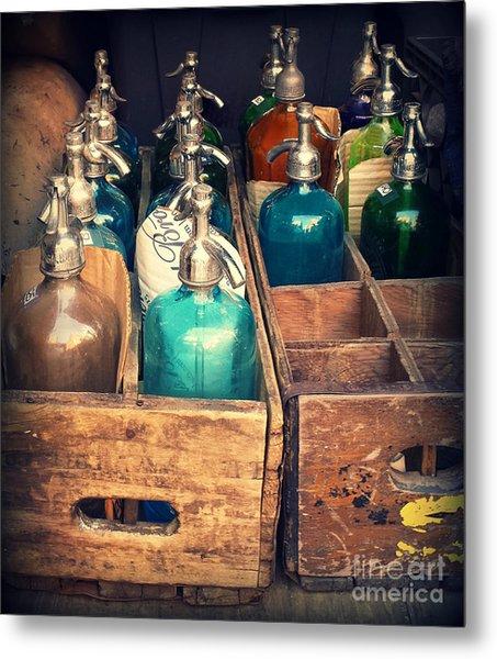 Vintage Antique Seltzer Bottles Metal Print