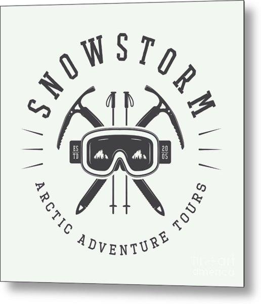 Vintage Arctic Mountaineering Logo Metal Print
