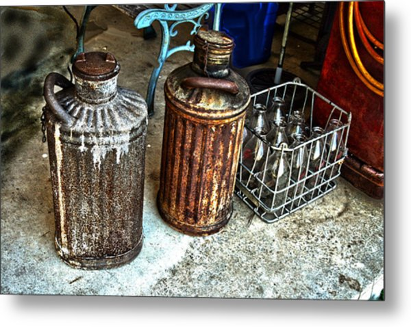 Hdr Vintage Art  Cans And Bottles Metal Print