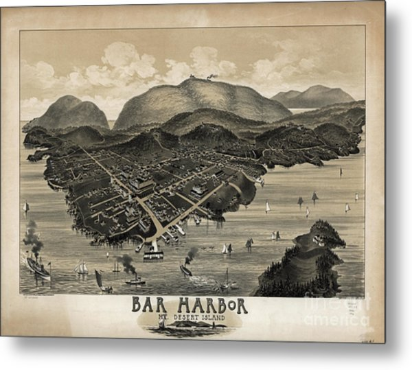 Vintage Bar Harbor Map Metal Print
