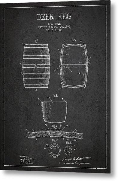 Vintage Beer Keg Patent Drawing From 1898 - Dark Metal Print