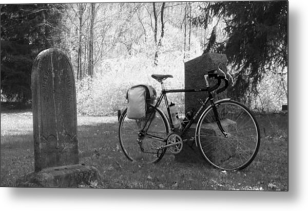 Vintage Bicycle In Graveyard Metal Print