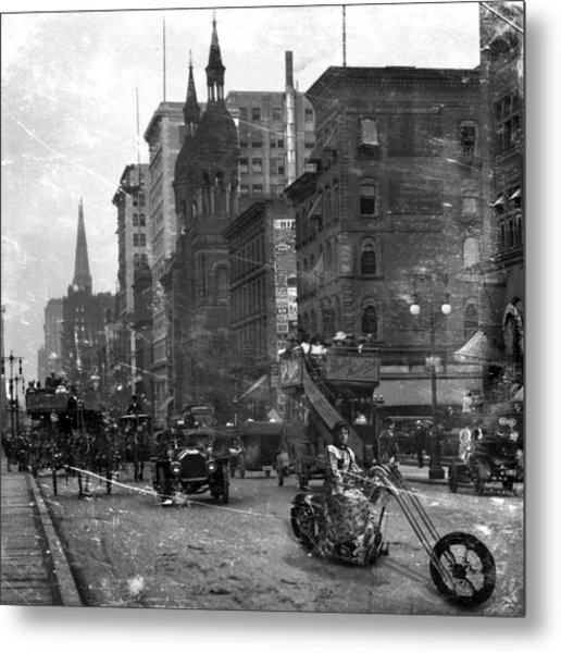 Vintage Bike Lady Grayscale Metal Print