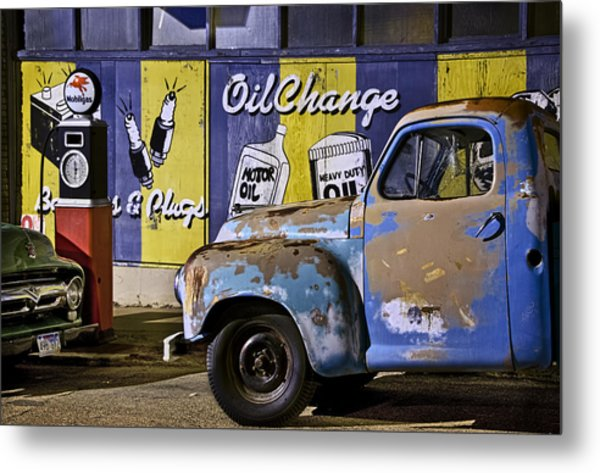 Vintage Blue Pickup And Gas Station Near Bisbee Az Metal Print