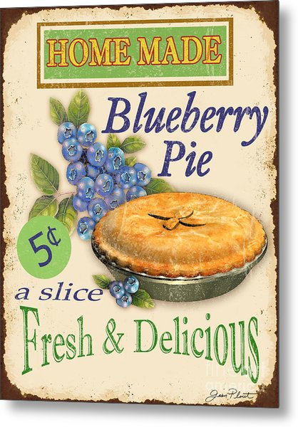 Vintage Blueberry Pie Sign Metal Print