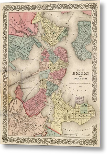Vintage Boston Map 2 Metal Print