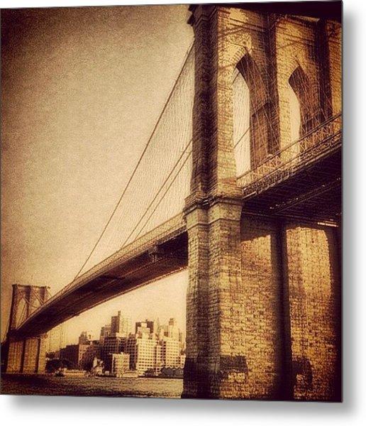 Vintage Brooklyn Bridge.  #brooklyn Metal Print
