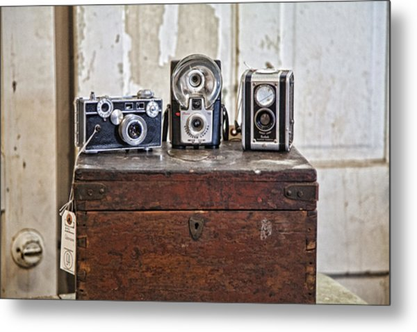 Vintage Cameras At Warehouse 54 Metal Print