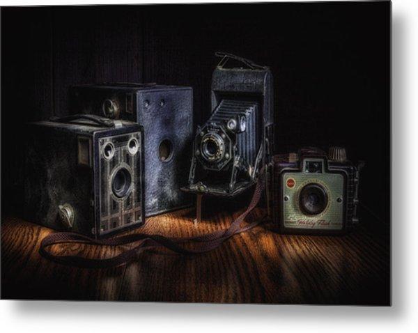 Vintage Cameras Still Life Metal Print