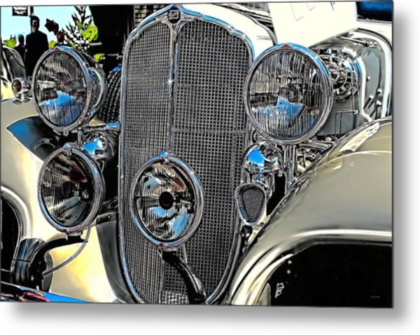 Vintage Car Art Buick Grill And Headlight Hdr Metal Print