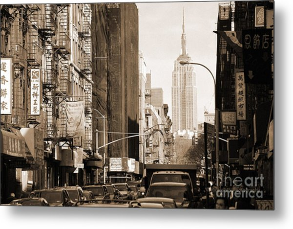 Vintage Chinatown And Empire State Metal Print