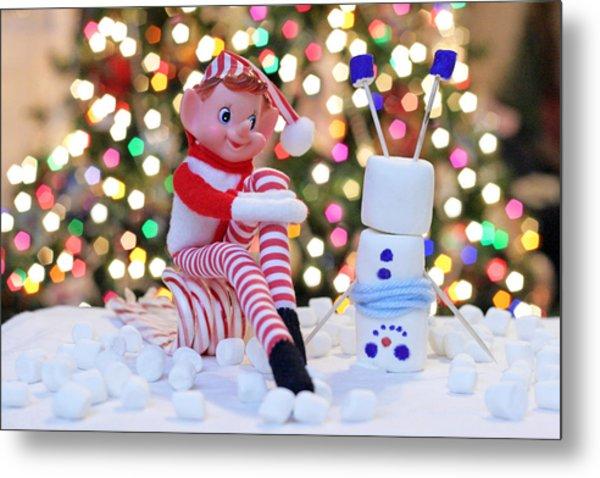Vintage Christmas Elf Upside Down Snowman Metal Print