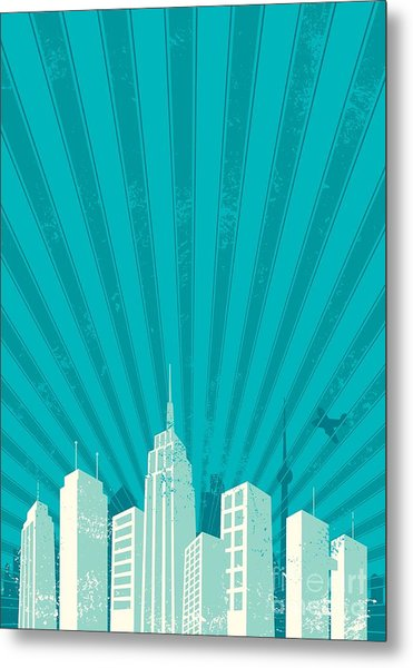 Vintage City Background. A4 Proportions Metal Print