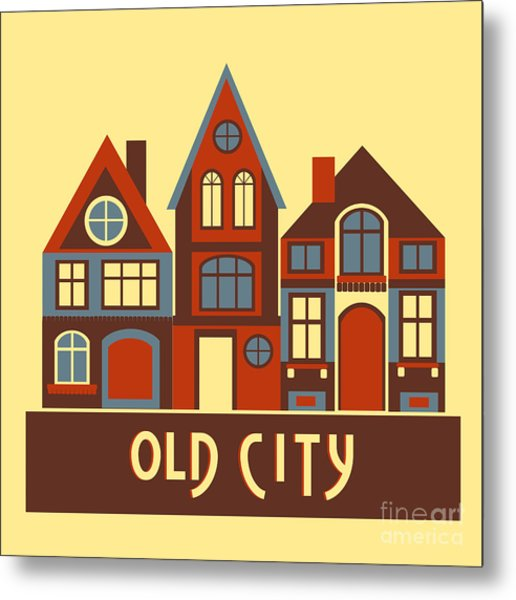 Vintage City Houses On Yellow Background Metal Print by Okhristy