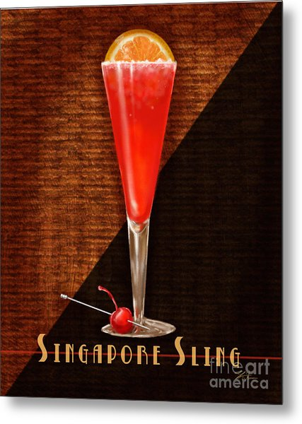 Vintage Cocktails-singapore Sling Metal Print