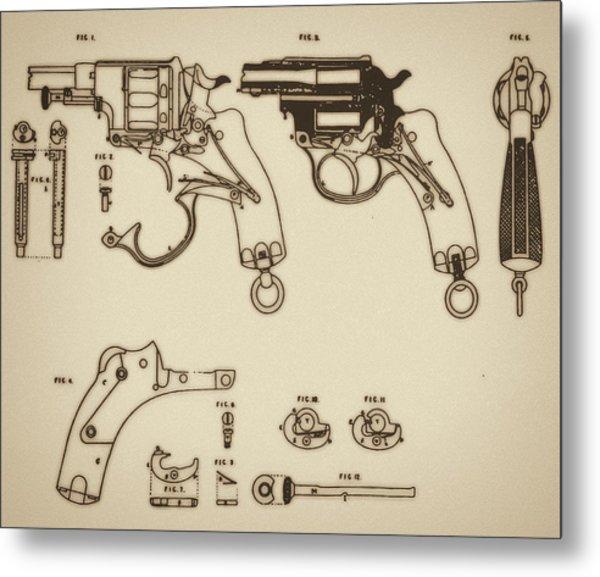Vintage Colt Revolver Drawing Metal Print