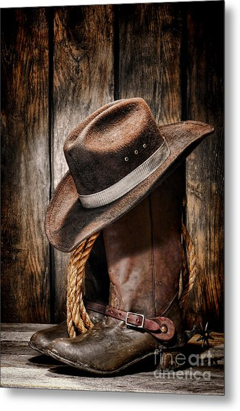 Vintage Cowboy Boots Metal Print
