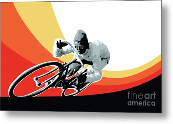 Vintage Cyclist With Colored Swoosh Poster Print Speed Demon Metal Print
