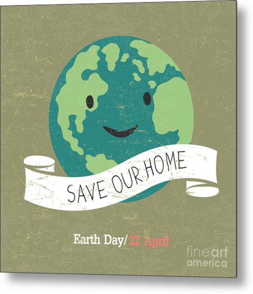 Vintage Earth Day Poster. Cartoon Earth Metal Print by Pashabo