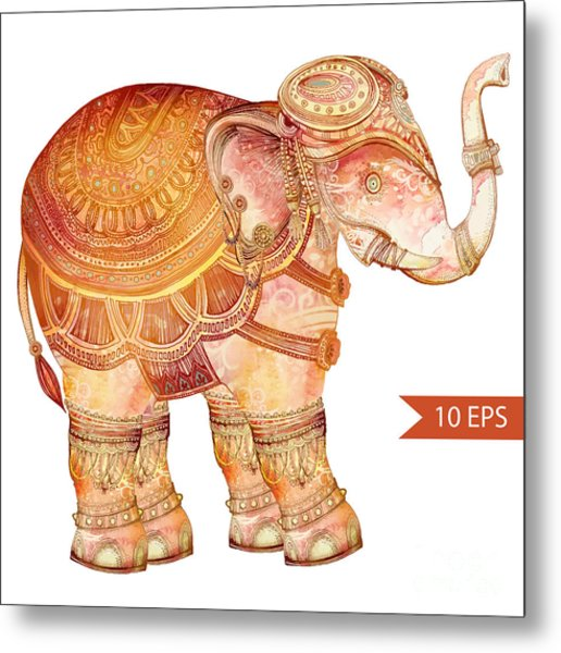 Vintage Elephant Illustration. Hand Metal Print