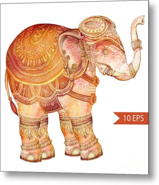 Vintage Elephant Illustration. Hand Metal Print by Polina Lina