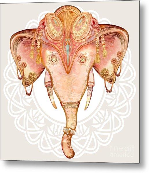 Vintage Elephant Illustration.hand Draw Metal Print by Polina Lina