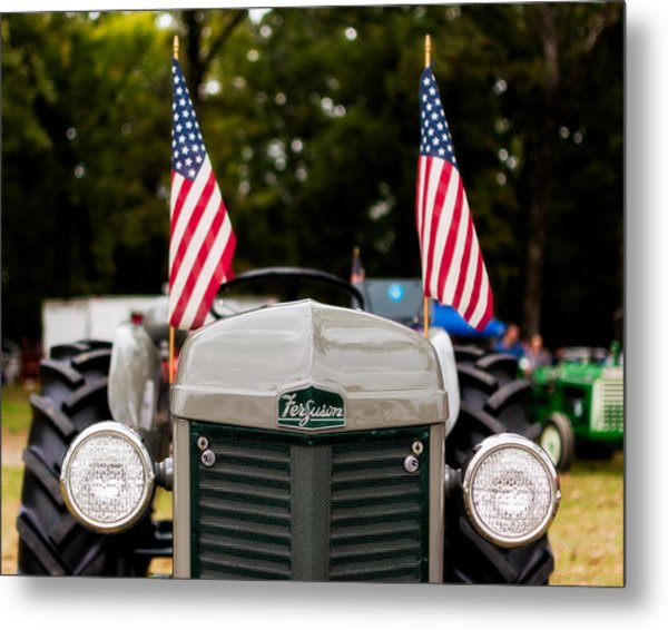 Vintage Ferguson Tractor With American Flags Metal Print