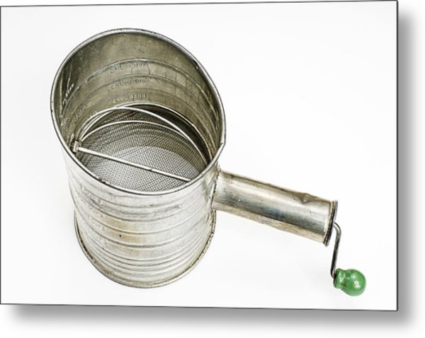 Vintage Flour Sifter Isolated On White Metal Print