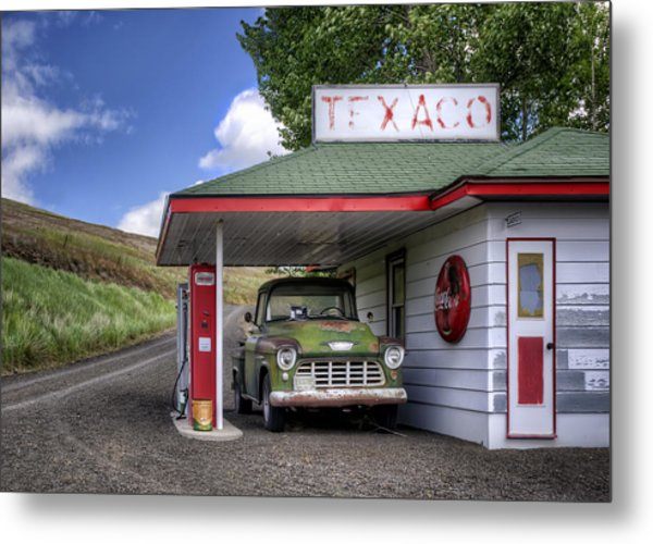Vintage Gas Station - Chevy Pick-up Metal Print