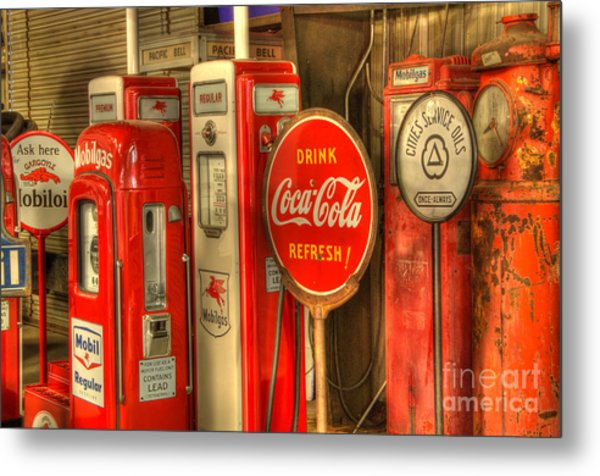 Vintage Gasoline Pumps With Coca Cola Sign Metal Print