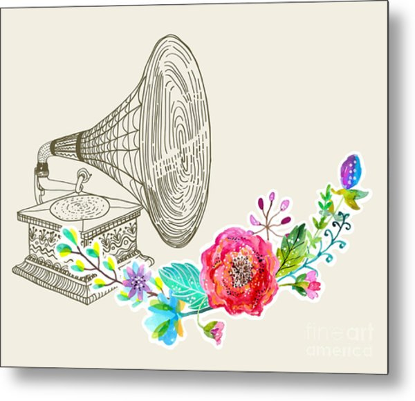 Vintage Gramophone, Record Player Metal Print