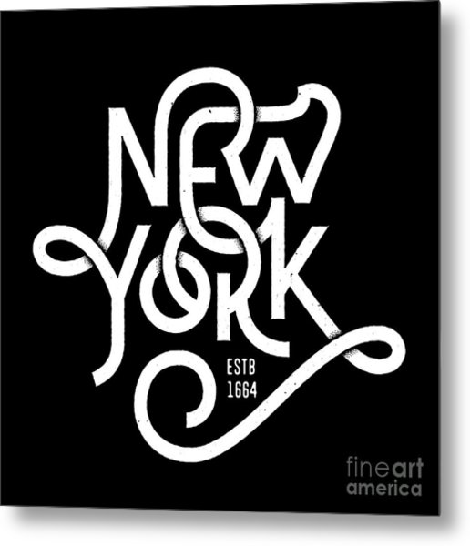 Vintage Hand Lettered Textured New York Metal Print