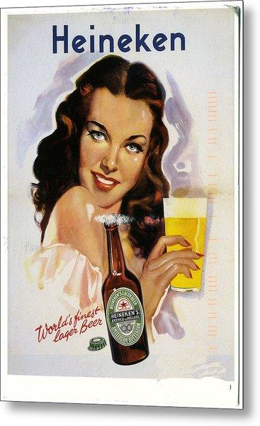 Vintage Heineken Beer Ad Metal Print
