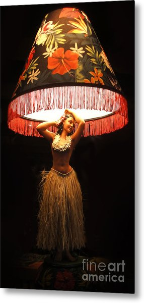 Vintage Hula Girl Lamp Metal Print
