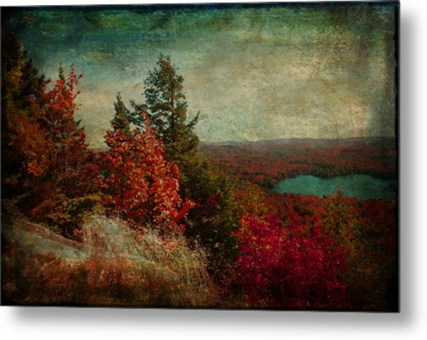 Vintage Inspired Adirondack Mountains In Fall Colors Metal Print