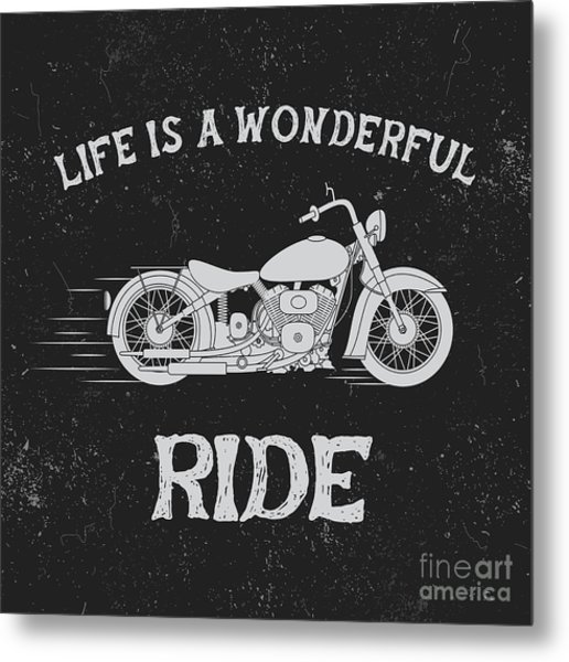 Vintage Label With Motorcycle .vintage Metal Print