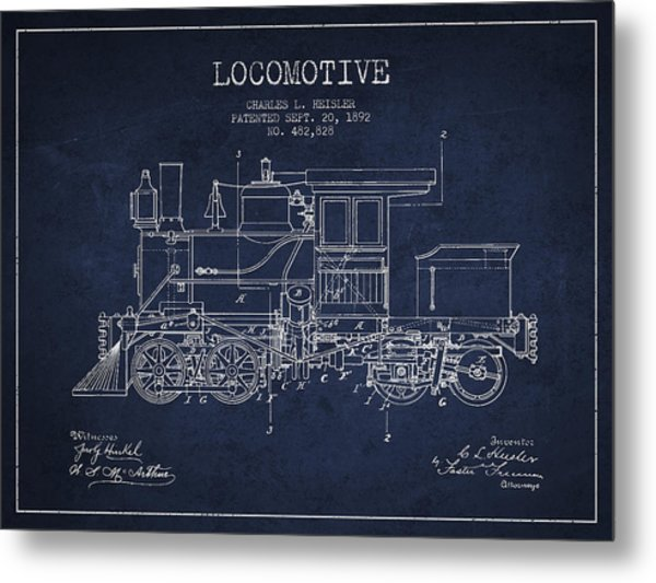 Vintage Locomotive Patent From 1892 Metal Print