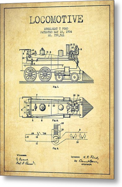 Vintage Locomotive Patent From 1904 - Vintage Metal Print